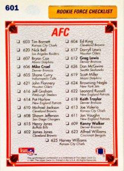 1991 Upper Deck  Rookie Force Checklist AFC 603-626