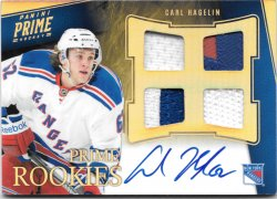 2011-12 Panini Prime Rookie Hologold Patch Autographs Carl Hagelin