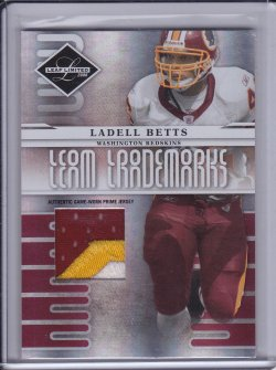 Ladell Betts 2008 Leaf Limited Team Trademarks Materials Prime /50