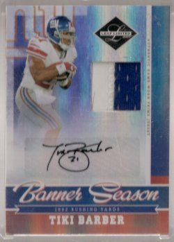 2007 Leaf Limited Tiki Barber Banner Season Autograph Material Prime