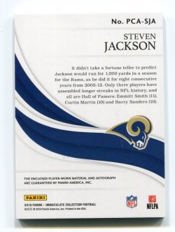 2019 Panini Immaculate Steven Jackson Patch Autograph Back