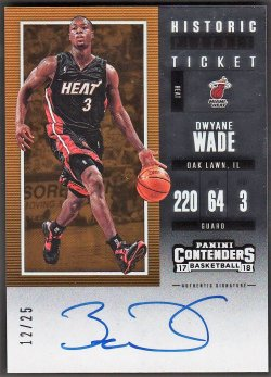2017-18   Dwayne Wade Contenders Historic Playoff Ticket Auto /25