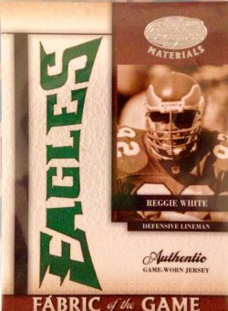 2008 Donruss Leaf Certified Materials Fabric of the Game Team Name Die Cut Reggie White