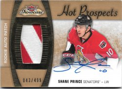 2015-16 Fleer Showcase Hot Prospects Auto Patch Shane Prince