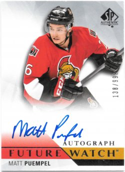 2015-16 Upper Deck SP Authentic Future Watch Autographs Matt Puempel