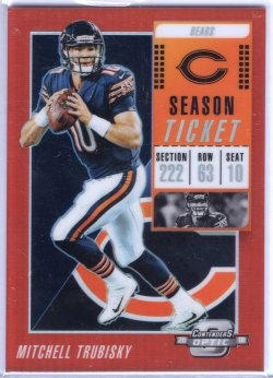 2018 Playoff Contenders Optic Mitchell Trubisky Season Ticket Red