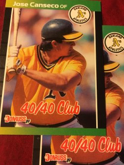 1989 Donruss MLB First 40-40 Man JOSE CANSECO #643 OakLand As AllStar OF
