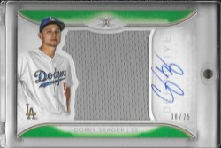 2018 Topps Definitive Corey Seager Green Auto Jersey