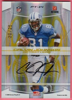 2008   Jerry Rice + Calvin Johnson Elite Passing the Torch Dual Auto /25