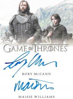 2020  Rittenhouse Game of Thrones Season 8 Dual Autographs Rory McCann / Maisie Williams