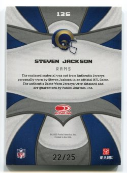 2009 Panini Certified Steven Jackson Fabric of the Game Patch Back