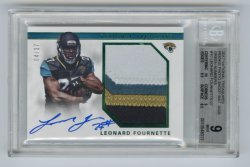 2017 Panini National Treasures Rookie Photo Shoot Material Signatures Green Numbers #10 Leonard Fournette/27 BGS 9