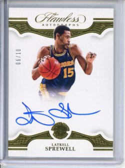 2018-19 Panini Flawless Latrell Sprewell Flawless Autographs Gold