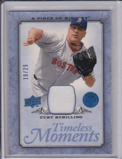Curt Schilling 2008 UD Piece of History Timeless Moments Jersey Blue /25
