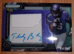 2014 Topps Strata Teddy Bridgewater Clear Cut Auto Patch