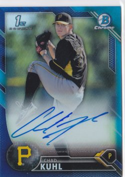 2016 Chad Kuhl Bowman Chrome Blue Refractor On-Card Auto RC /150  Pirates A8669