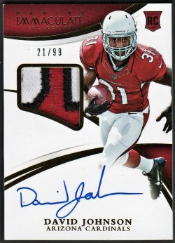 2015   David Johnson Immaculate Gold Parallel 3-CLR RPA /99