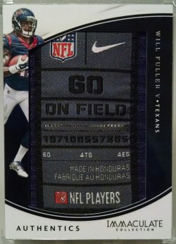2016 Panini Immaculate Collection Will Fuller V authentic laundry tag