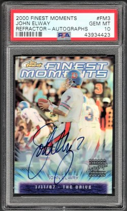 """2000   John Elway Topps Finest Moments """"The Drive"""" Auto SP"""