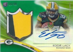2013 Topps Platinum Green Refractor Patch Auto Eddie Lacy