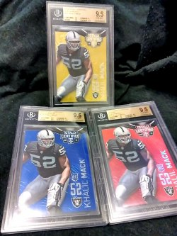 2014 Panini Totally Certified Khalil Mack Rookie Gold/Mirror Red/Blue Parallels