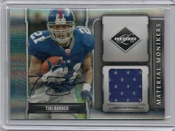 2009 Panini Limited Tiki Barber Material Monikers Autograph