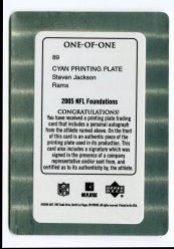 2005 Upper Deck Foundations Steven Jackson Cyan Plate Back