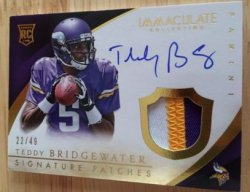2014 Panini Immaculate Teddy Bridgewater Auto Patch