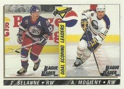 1993/94 O-Pee-Chee Premier Selanne/Mogilny (Goal Scoring Leaders)