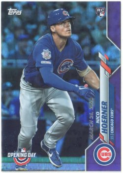 2020 Topps Opening Day Purple Foil Nico Hoerner