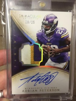 2015 Panini Immaculate  Adrian Peterosn Auto Patch