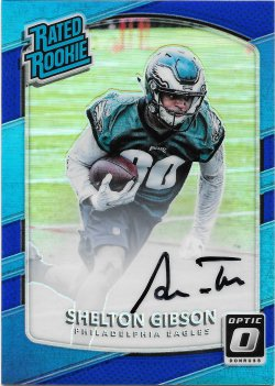 2017 Donruss Optic Rated Rookies Autographs Blue Shelton Gibson