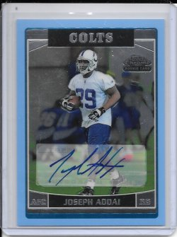 2006 Topps Chrome Blue Rookie Autograph - Joseph Addai