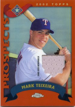 2020 Topps Chrome Mark Teixeira Retro Rookie Chrome Relic Refractor Orange