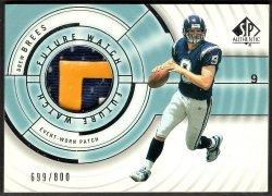 2001    Drew Brees Upper Deck SP Authentic Future Watch 3-CLR Patch /800