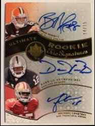 2009 Upper Deck Ultimate Collection  Ultimate Rookie Autographs Trios #RCH Darrius Heyward-Bey/Michael Crabtree/Brian Robiskie /15