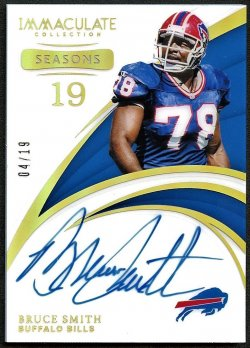 2019   Bruce Smith Immaculate Collections Seasons Auto /19