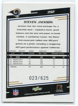 2004 Score Base Steven Jackson Scorecard Back