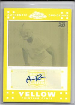 2007 Topps Chrome Yellow Printing Plate Autograph - Aaron Ross