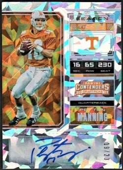 2018   Peyton Manning Contenders Collegiate Cracked Ice Parallel Auto #19/23