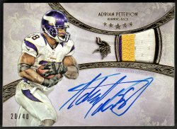 2013   Adrian Peterson Topps Five Star Gold Parallel 3-CLR Patch Auto /40