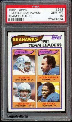 1982 Topps Seahawks Team Leaders Steve Largent